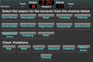 the ball when the turnover occurred and selecting the type of turnover ...